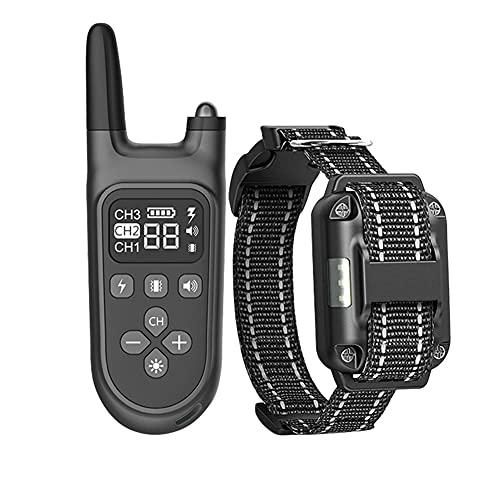 Ousyaah Collar De Adiestramiento para Perros Antiladridos, Impermeable Dispositivo para Detener Ladrido de los Perros con 1-99 Niveles Modos de Eléctrica,Vibración, Pitido y Alcance de 800m
