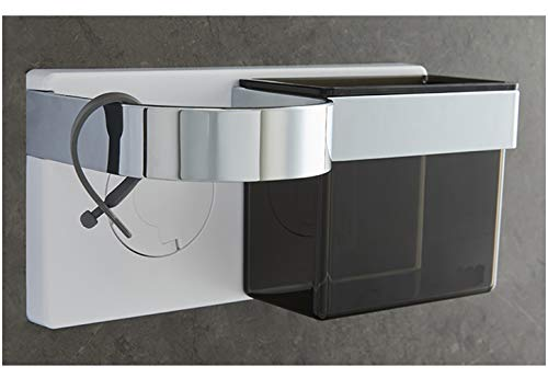 profesticker Soporte Secador Pelo Autoadhesivo Montado Pared Porta Plancha con Almacenamiento ABS Sujetar Cepillo Cabello y Accesorios Peinar Adhesivo Fuerte con Sujetacables Silicona