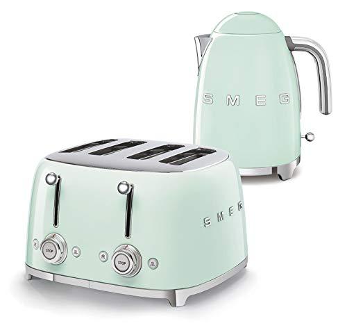 Smeg 50s Retro 4-Slot Toaster TSF03 Bundle with Smeg KLF03 Electric Kettle (Pastel Green)