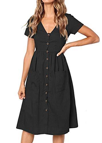 Keven Damen Kurzarm Sommerkleider V-Ausschnitt Vintage Knöpfe Kleid Strandkleider Mit Taschen (XL, Schwarz)