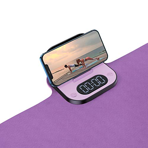 Scnkt Yoga Mat with Phone Stand and Countdown Timer Premium 1/4quot Thick Fitness amp Exercise Mat with Storage Bag and 4 AAA Battery Workout Mat for Yoga Pilates and Floor Exercises Purple/Pink