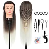DANSEE 28' Mannequin Head Hair Styling Training Head Manikin Cosmetology Doll Head Synthetic Fiber Hair with DIY Braiding Set+ Free Table Clamp(4-613)