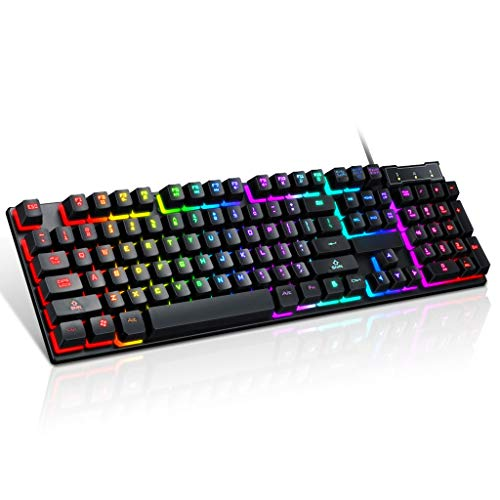 Sidougeri USB Wired Gaming Keyboard, Wired Beleuchtete Tastatur 104 Tasten, Mechanical Gaming Keyboard LED Hintergrundbeleuchtung RGB für Home Office
