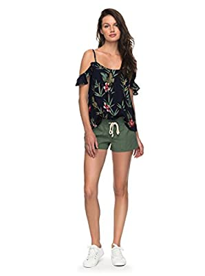 Roxy Women's Oceanside Elastic Waist Non Denim Shorts, olive L
