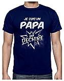Papa Qui Dechire Super Cadeau pour Papa T-Shirt Homme Medium Marine