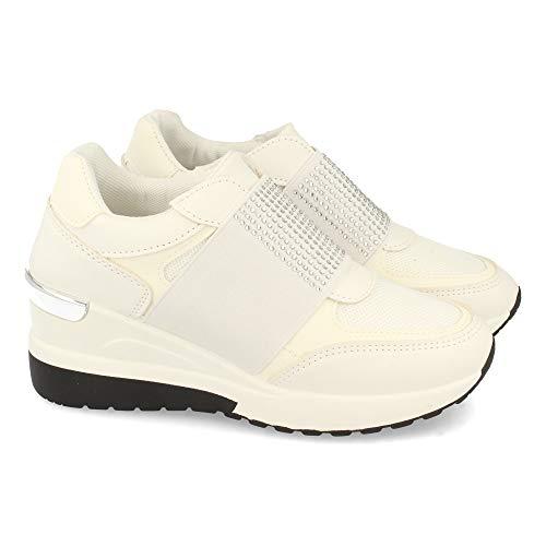 Zapatilla para Mujer, con Cuna, Tira Elastica con Strass en el Empeine, Otono Invierno 2020. Talla 38 Blanco