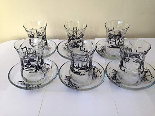 Juego de 12vasos de té turcos, diseño de patrón de Estambul, cris