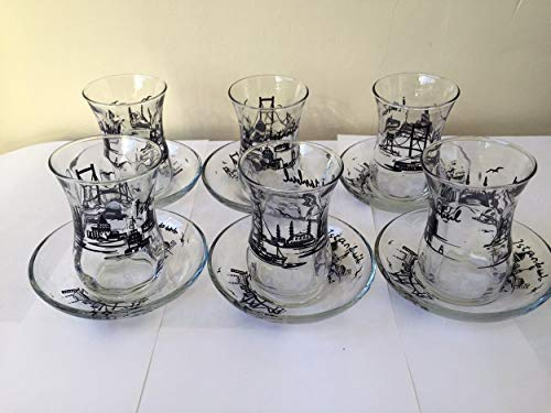 Juego de 6vasos de té, diseño de patrón de Estambul té turco Cristal Cay Bardagi tazas de UK