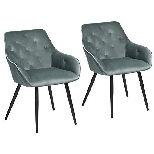 Muele Cosy – Juego de 2 sillas de Comedor escandinavas de Terciopelo Verde sillón salón de diseño con reposabrazos, Acero Inoxidable, 56 x 59 x 75 cm