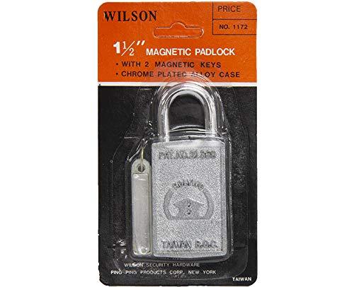 "Wilson #1172, 1-1/2"" Magnetic Padlock with 2 Magnetic Keys"