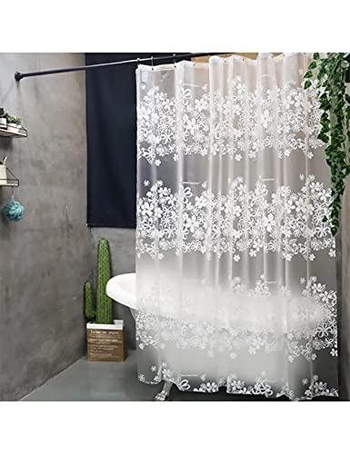 FBBULES Duschvorhang 120x180 Anti-Schimmel, Anti-Bakteriell, Wasserdicht, Waschbar, Halb-Transparent, Umweltfre&lich PEVA Vorhang mit Ringe für Badezimmer Badewanne
