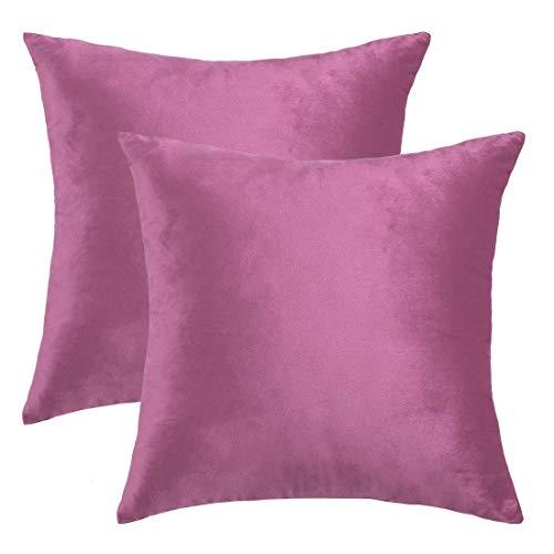 YeVhear – Juego de 2 fundas de cojín de terciopelo decorativas, funda de almohada cuadrada Euro de lujo, para sofá, cama, silla, 18 x 18 pulgadas, color fucsia