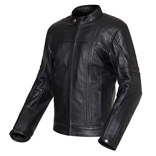 Chaqueta de moto de cuero estilo vintage negra Cronos (2XL)