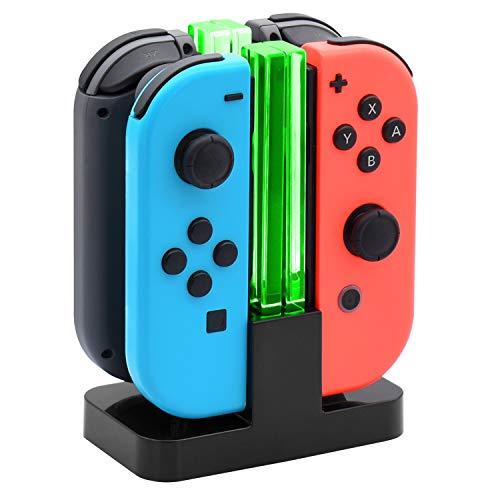 FYOUNG 4 en 1 Manettes Chargeur pour Nintendo Switch, Joy-Con Charging Station avec Indicateur LED Version Avancée Mise Hors Tension Automatique Après Une Charge Complète