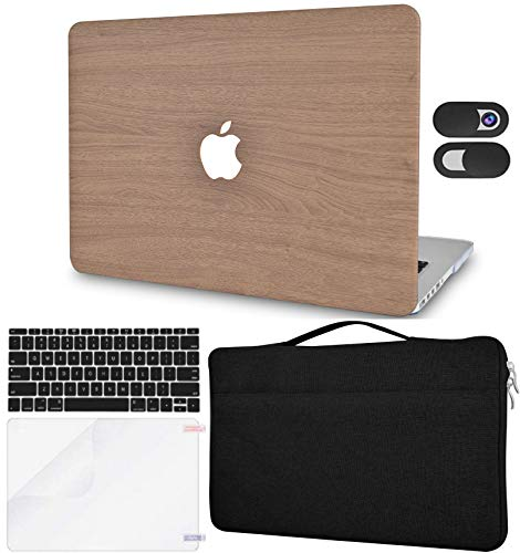 LuvCase 5in1 LaptopCase for MacBook Pro 13'(2020) with Touch Bar A2338 M1/A2251/A2289HardShellCover, Sleeve Bag, Webcam Cover, Keyboard Cover & Screen Protector (Brown Wood)