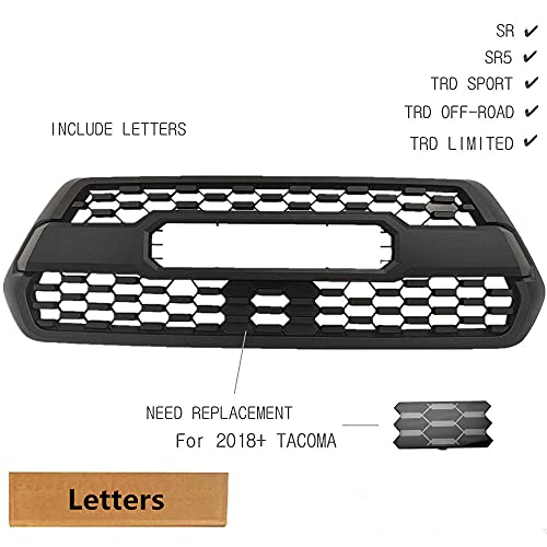 JTP Tacoma TRD PRO Grille Matte Black Fit for Tacoma 2016-2021 (Not Fit Trucks with Front Camera) (Grille Only (16-17))