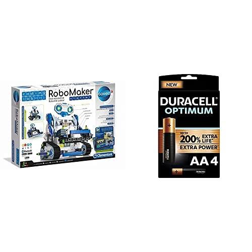 Clementoni 52397 59122 Galileo Science Coding Lab RoboMaker Starter, ab 8 Jahren + Duracell NEU Optimum AA Mignon Alkaline Batterien, 1.5V LR6 MX1500, 4er-Pack