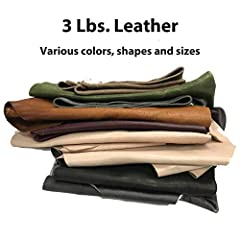 3 lbs. genuine leather. Various sizes, shapes and colors - most colors earth tone If you are looking for larger pieces check out our 2 lb. listing for larger pieces: https://www.amazon.com/dp/B0851QYQFF?ref=myi_title_dp Good for applications includin...
