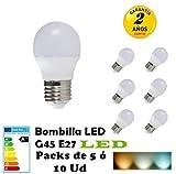 G45-Bombilla LED E27 3W 4W 5W 6W 7W Packs de 5 ó 10 Unidades ahorras hasta 80 por ciento de luz (3000K LUZ CALIDO, PACK 5 5W)