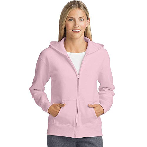 Hanes Women's EcoSmart Full-Zip Hoodie Sweatshirt, Pale Pink, Large