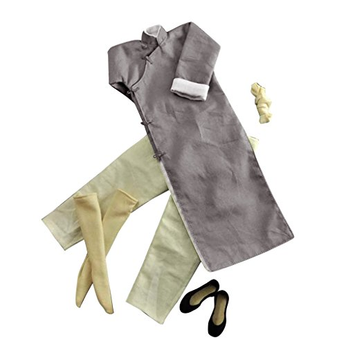 MonkeyJack 1/6 Gray Robe Costume Yip Man Kung Fu Bruce Lee Suit for Enterbay Hot Toys Clothing