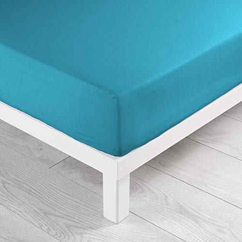Sábana Bajera Ajustable para Cama Individual (90 x 190 cm), Color Azul