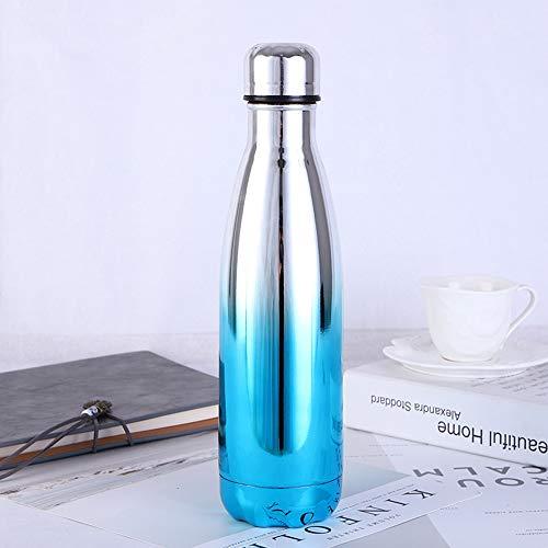Botella de agua de acero inoxidable de 500 ml con aislamiento al vacío. Taza de café reutilizable a prueba de fugas, mantiene las bebidas frías y calientes, Acero inoxidable 304, azul, blanco, 70 x 265mm