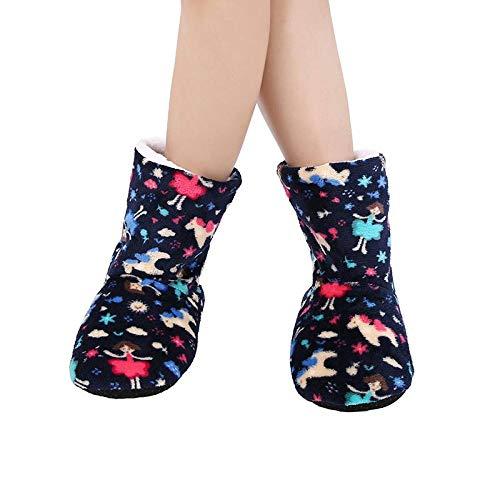 HAIBI Zapatillas Calcetines Invierno Caliente Felpa Zapatillas Dibujos Animados Algodón Zapatos Caseros Niñas Antideslizantes Largo Tubos Calcetines Interiores,40