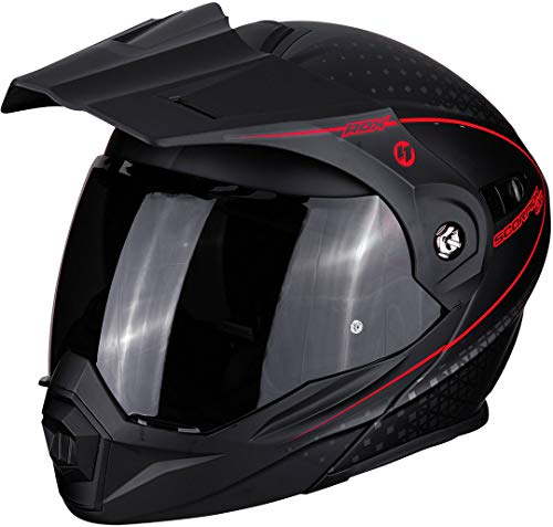 Scorpion Casco de moto ADX-1 HORIZON Matt Black-Neon red, Negro/Rojo, M