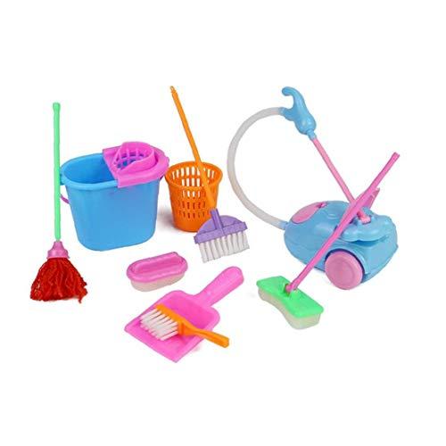 GGOOD Los Juegos de simulación del hogar Toy Kit Mini Aspirador de Limpieza Escoba de la fregona Herramientas Accesorios Juguetes Ware Juguetes para niños 9pcs Chicas