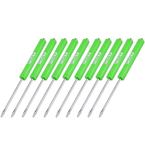 PQY 10pcs Mini Tops And Pocket Clips Pocket Screwdriver Strong Magnetic Slotted Screwdriver Green