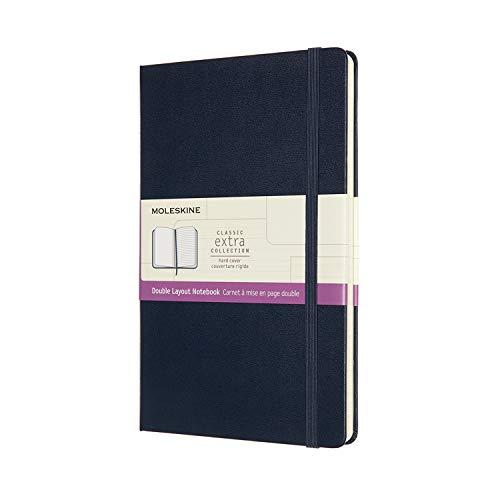 Moleskine NB313HB20 - Cuaderno de doble diseño, páginas en blanco y de rayas, tapa dura, tamaño grande 13 x 21 cm, color azul zafiro