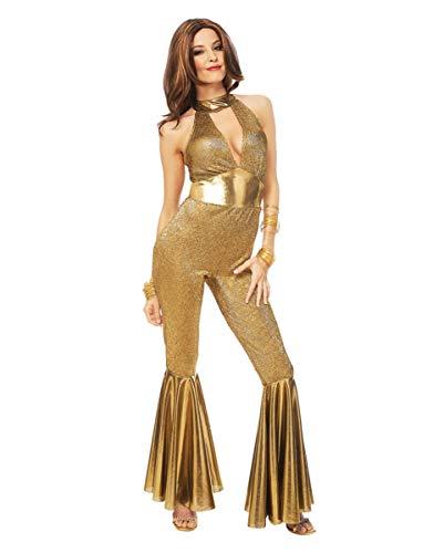 Horror-Shop Goldenes 70er Jahre Disco Diva Kostüm für Fasching & Mottoparty M
