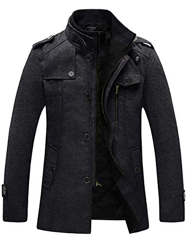 Wantdo Men's Winter Parka Stand Collar Windproof Wool Jacket Thick Black M