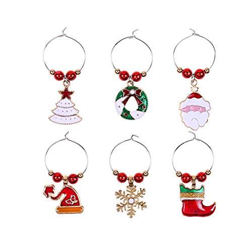 6pcs Encantos de Copa de Vino con Tema de Navidad, Anillos de Copa de Vino de Navidad Colgantes Etiquetas de Bebida de Metal de Navidad Favores de Fiesta decoración de la BOD
