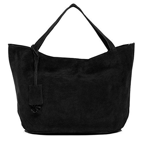 BACCINI Handtasche mit Langen Henkeln echt Wildleder Selma groß Henkeltasche Schultertasche Ledertasche Damen schwarz