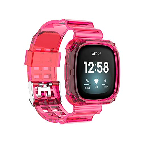 FitTurn Compatible with Fitbit Versa 3 Bands Sense Bands Women Men Transparent Silicone Integrated Design Replacement Soft Sport Case Band Accessories for Sense/Versa 3 SmartWatch Large Small (Rose)