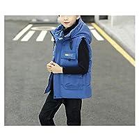 冬の 男の子の女の子ベストの毛皮のノースリーブベストのコートスタンド襟の防風パーカーベストウハラのジャケット暖かいパッド入りギレット ジャケット (Color : Blue, サイズ : Large)
