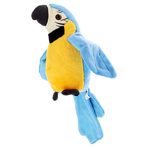FLAMEER Giocattolo di Ripetizione con Registratore Vocale A Forma di Uccello Pappagallo - Blu, Come descritto