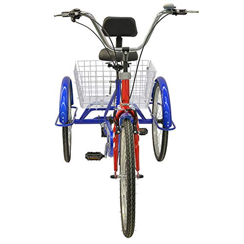 Barbella Adult Tricycle, 24-Inch Single and 7 Speed Three-Wheeled Cruise Bike with Large Size Basket for Recreation, Shopping, Exercise Men'   s Women's Bike(7 Speed USA Flag)