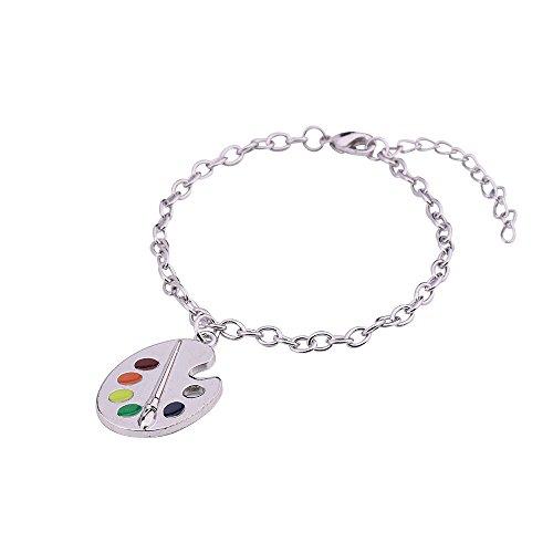 Kunstdruck, mehrfarbig, Kette mit Anhänger und-Armband)
