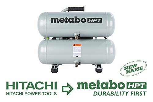 Metabo HPT EC99S Electric Air Compressor, Twin Stack, Portable, 4 gallon, Cast Iron, Oil Lubricated Pump 135 Psi, 1-Year Warranty