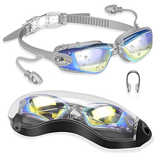 DAWINSIE Gafas de natación Unisex para Adultos y jóvenes, Gran Angular de 180°, antivaho, protección UV, Gafas de Buceo con Pinzas para la Nariz, Tapones para los oídos y Caja para Gafas