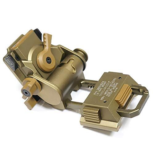WLXW NVG Rhino - Soporte para Gafas de Visión Nocturna, Kit de Montaje Abatible para Casco Táctico Rápido Mich M88 Compatible con L4G24 L4G19 PVS15 PVS18 GPNVG18,Oro,Metal