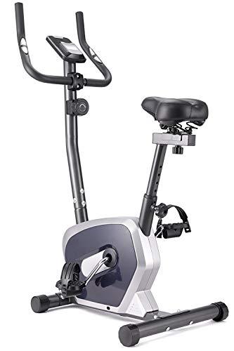 エアロバイク フィットネスバイク 見やすい大型液晶メーター 8段階負荷調節 心拍数測定 高機能デジタルメーター付き IDEER LIFE (シルバー(501B-1))