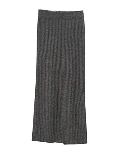 Damen Retro Elegant Elastizität Hohe Taille Midi Rock Winter Bleistiftrock Strickrock Dunkelgrau Eine Größe