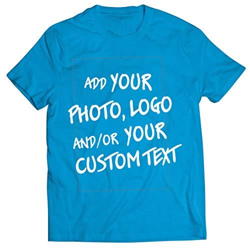 lepni.me Camisetas Hombre Regalo Personalizado, Agregar Logotipo de la Compañía, Diseño Propio o Foto (Large Azul Multicolor)