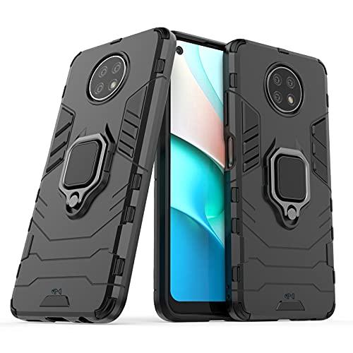Funda para Xiaomi Redmi Note 9T 5G / Redmi Note 9 5G con Anillo Metálico Carcasa Magnética Imán Híbrida Antigolpes Resistente Rígida Dura [Absorción de golpes] (Xiaomi Redmi Note 9T 5G, Negro)