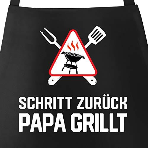 MoonWorks Grill-Schürze für Männer mit Spruch Schritt zurück Papa Papa Opa grillt Baumwoll-Schürze Grill-schürze Küchenschürze schwarz Unisize