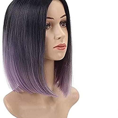 Pelucas para peinar el cabello, peluca de repuesto de pelo, peluca de Bob para mujer, color degradado, pelo corto, fibra química, simulación, moda peluca, rosa, verde, morado (color: rosa)